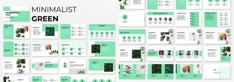 Minimalist Green Presentation Powerpoint Template 92566