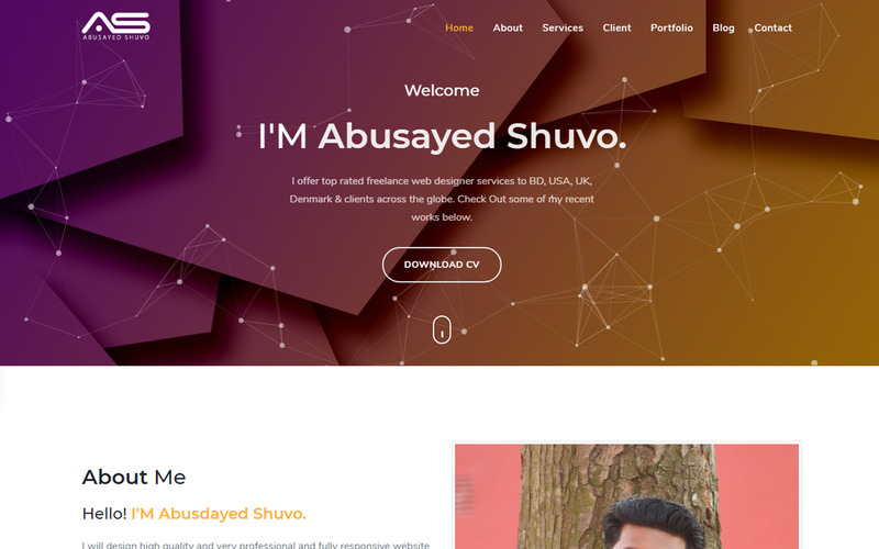 Shuvo Personal Portfolio Landing Page Template - Features Image 1