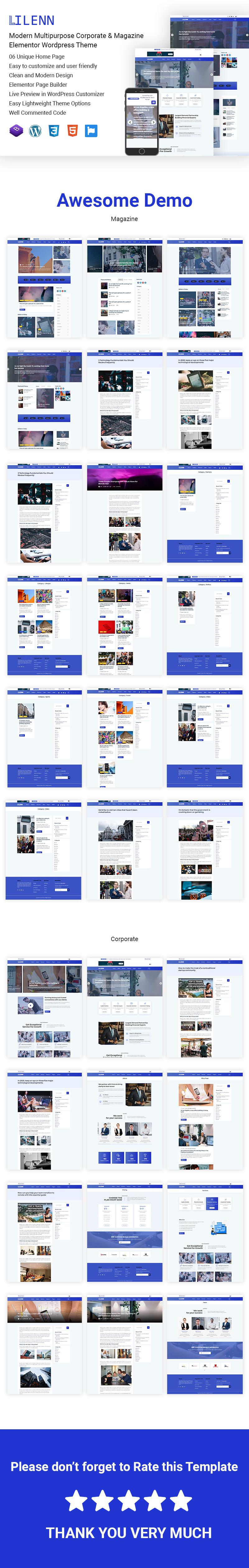 Lilenn-Modern Multipurpose Corporate & Magazine Elementor WordPress Theme - Features Image 1