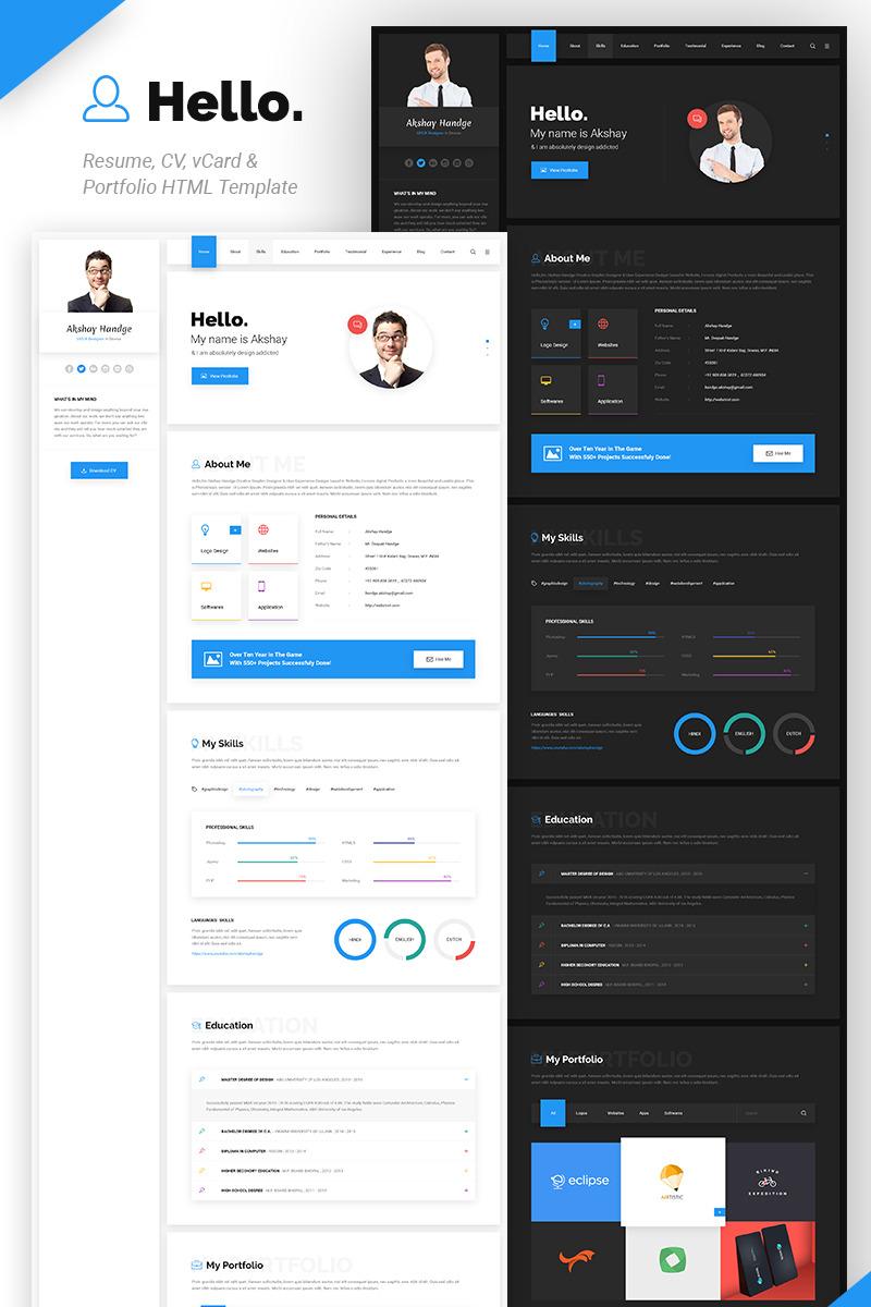 Hello Resume   CV, VCard U0026 Portfolio HTML Template Website Template Big  Screenshot