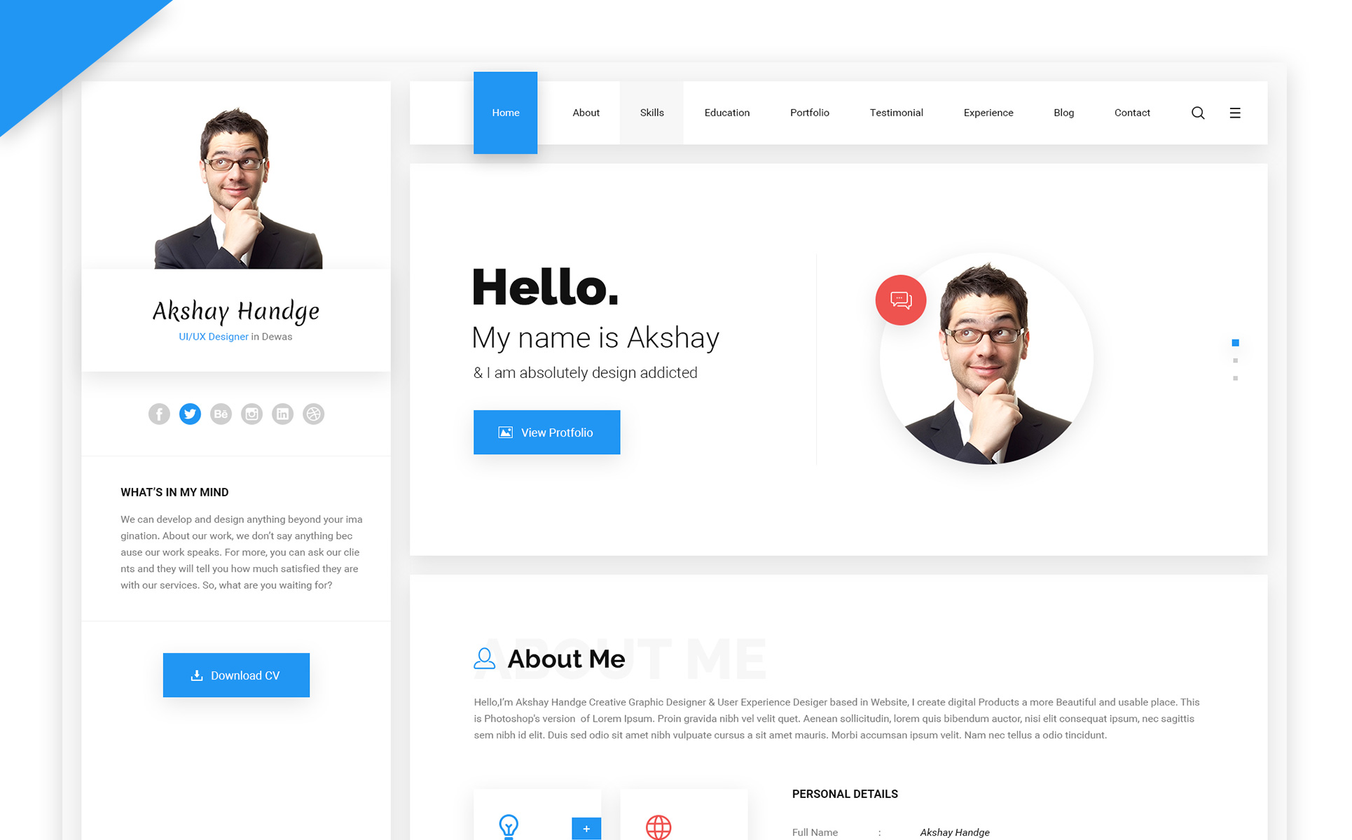 Hello Resume Cv Vcard Portfolio Html Template Website Template