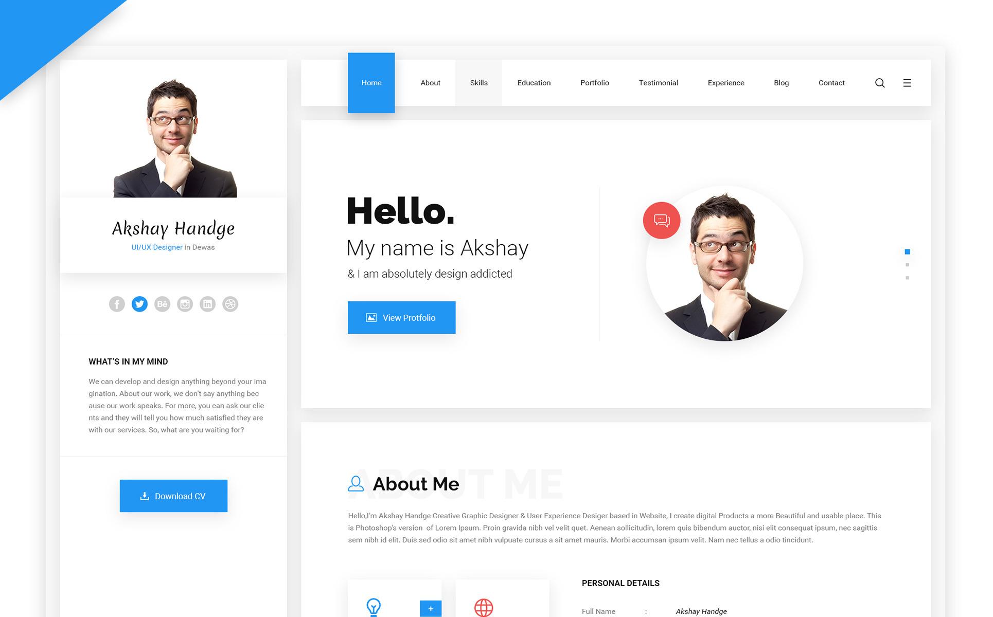 Elegant Hello Resume   CV, VCard U0026 Portfolio HTML Template Website Template Big  Screenshot